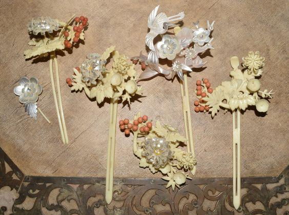 Vtg Japanese Hairpins Kanzashi Geisha Ornamental Hair Sticks | eBay