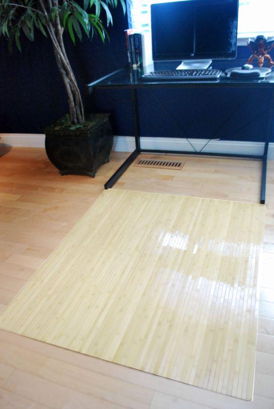 Natural birch wood bamboo chair mat office floor hard wood Wood floor chair mat