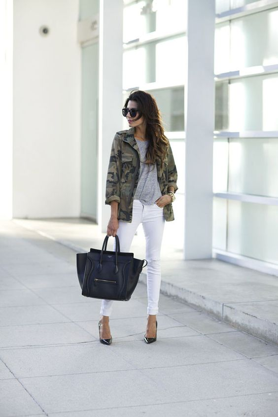 Pair destructed white J BRAND 811 skinnies with grey and camo for the perfect summer-ready look.