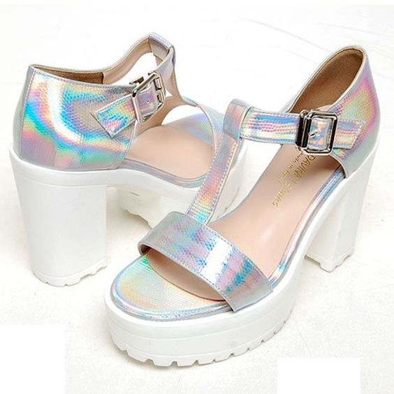 Details about Hologram silver metallic shoes snakeskin cutout ...