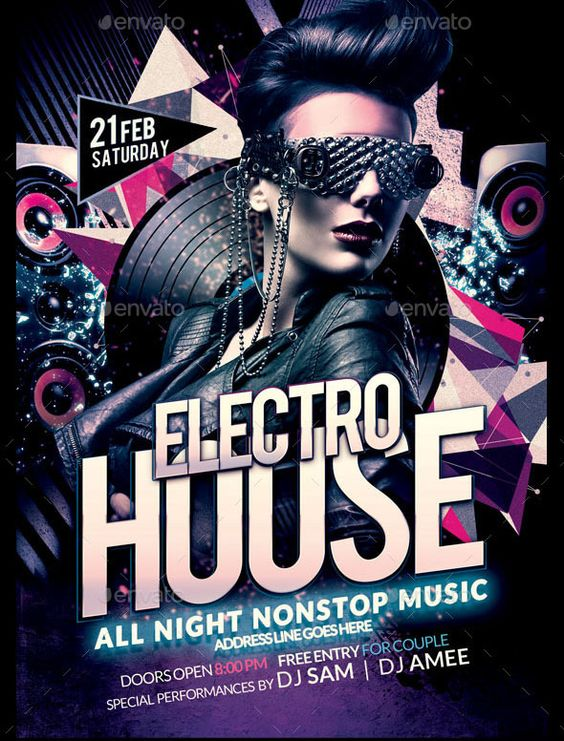 Electro House Party Flyer Electro House flyer is perfect and - electro flyer
