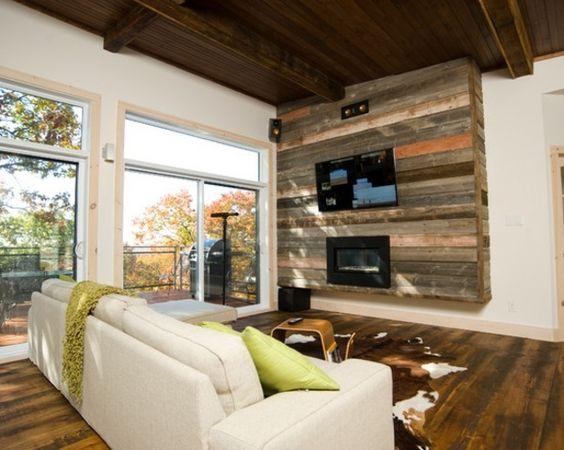 Holz Wandverkleidung Fernseher Decke Sofa