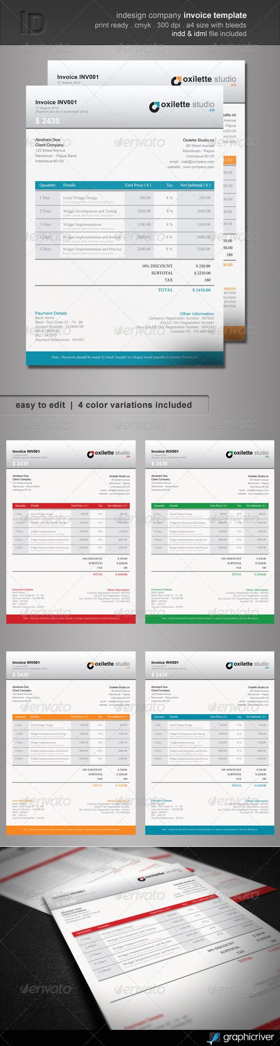 Indesign Company Invoice Template | Fonts, Colors and Wells