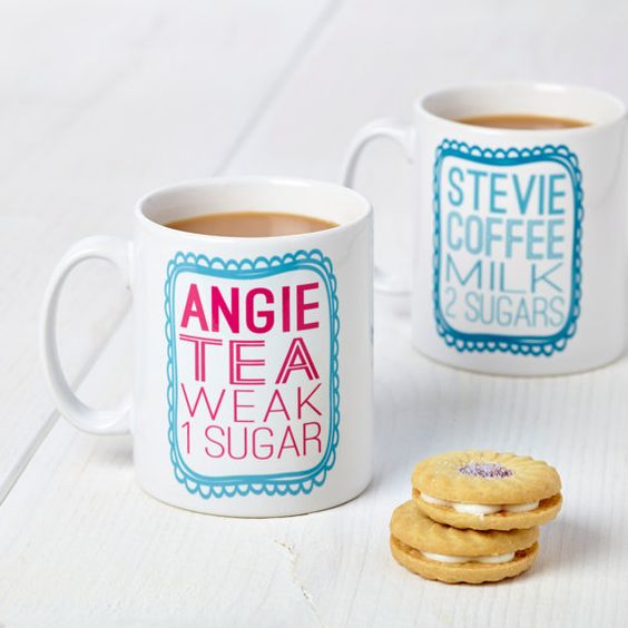 Such a fun idea! Made to order personalized mugs with how you take your coffee/tea