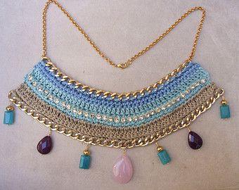 Unique beige and aqua blue cotton crochet necklace with blue angelite, rose quartz, purple agata gemstones, rhinestones and goldtoned chain