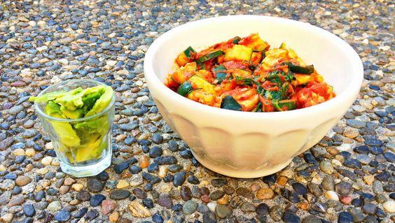 Quinoa salad with zucchini, coconut oil, roasted tomatoes, tomato ...