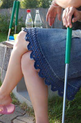 Crocheted edging on jean skirt
