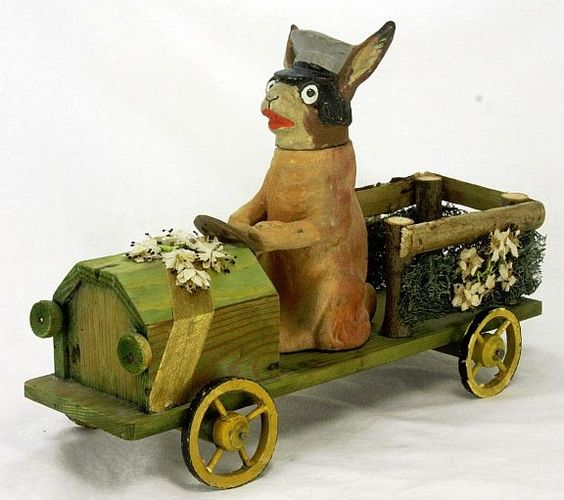 Antique German Rabbit Chauffeur Candy Container in Car ca1910