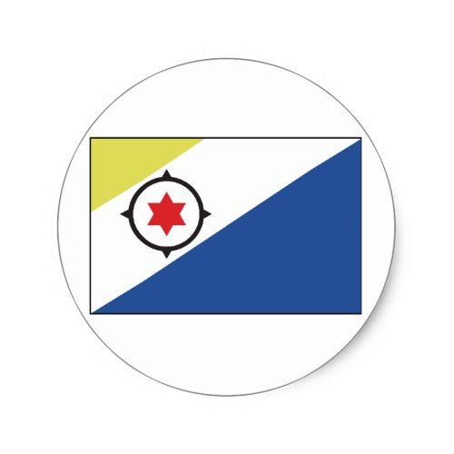 Bonaire Flag Classic Round Sticker Netherlands Flag Custom Stickers Personalized Custom