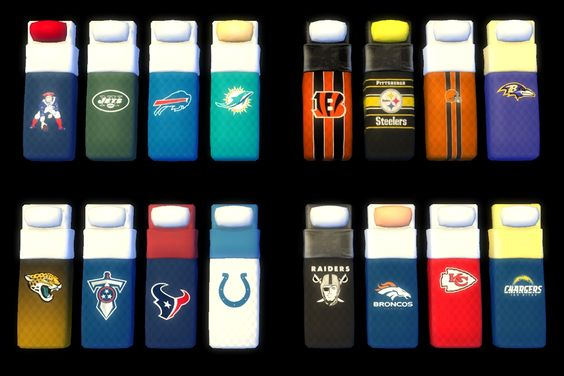 Recolors of Veranka's single mattress with logos for all 32 NFL teams.
