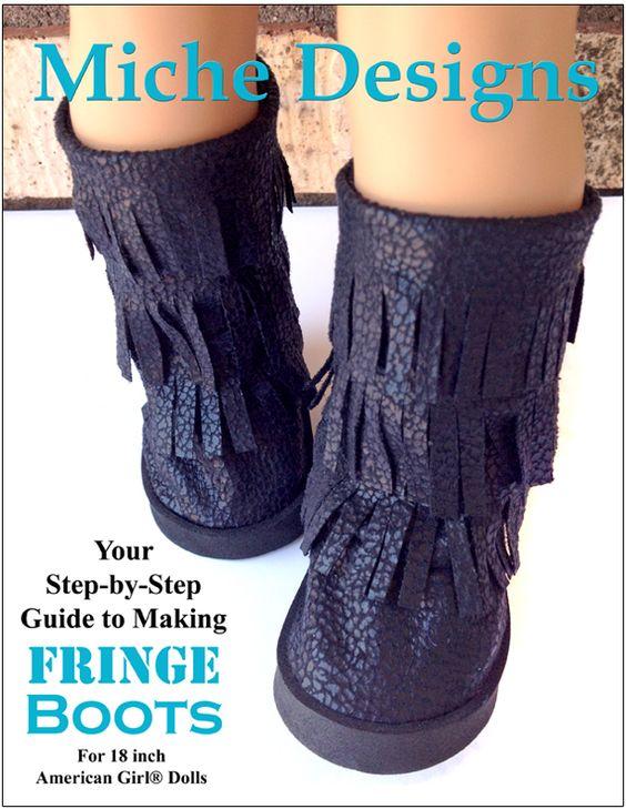 Fringe Boots 18 inch doll shoe pattern