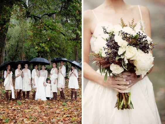 wedding bouquet and black umbrellas