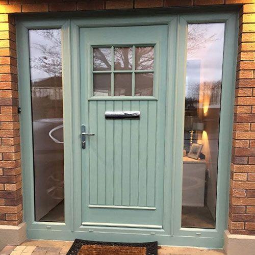 Palladio Style Dublin With Sidelights In Green External Doors Cottage Front Doors Green Front Doors