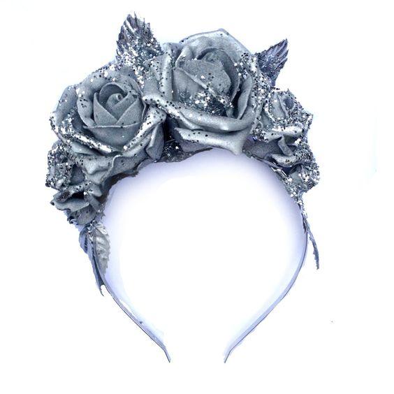 Image of Sophie Glitter Rose Headband - Silver
