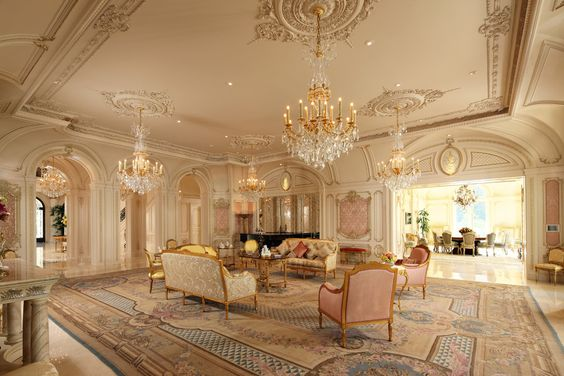 2: Interior- light colors/pastels, gold furnishings