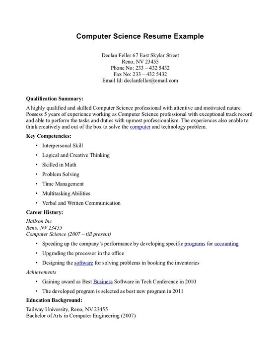 Computer Science Resume Templates - Http://Topresume.Info/Computer