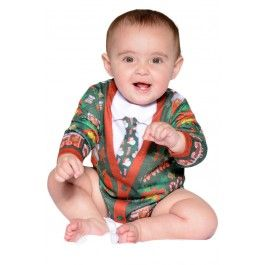 Infant Ugly Christmas Cardigan Romper - Green/Red