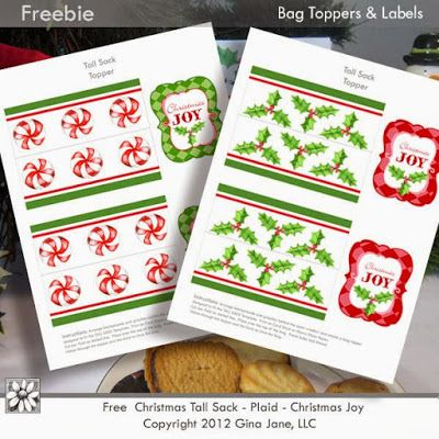 Your Free Art: Digital Clipart Scrapbook Crafts Borders Printable Stamps Cards: Free Christmas Paper Sack with Tags and Toppers