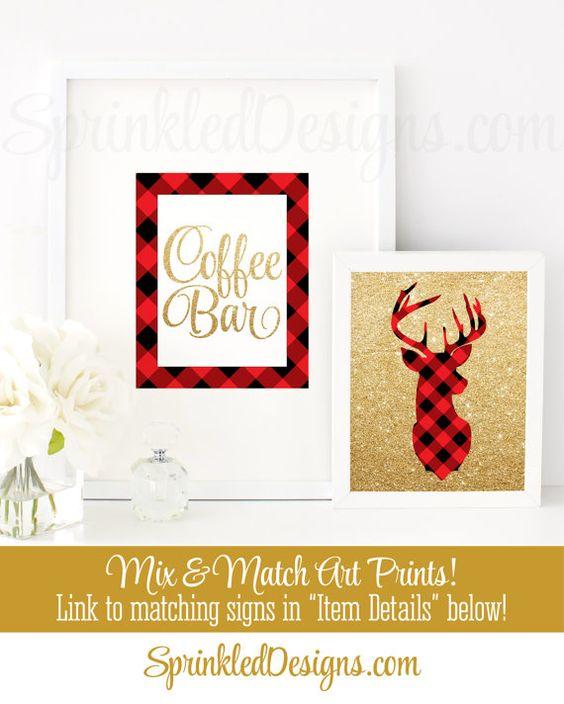 Coffee Bar Sign - Gold Red Black Buffalo Plaid Flannel ...