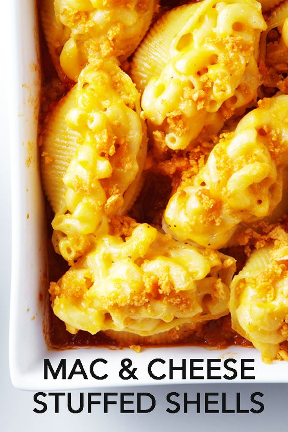 Jumbo shells are stuffed with homemade cheesy mac and cheese and then ...