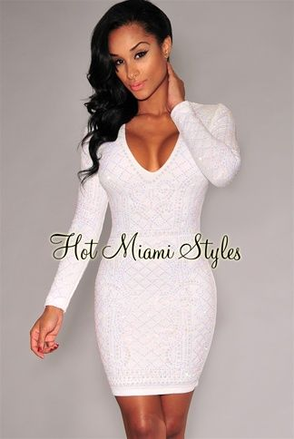 White Iridescent Stones Quilted V Neck Dress Womens clothing ...