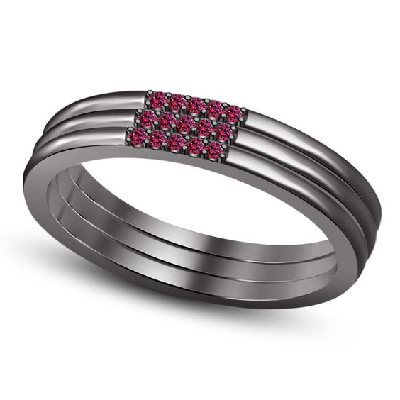 925 Silver Pink Sapphire Black Rhodium Platinum Handmade Anniversery Band Ring make for Order by BACIO2GIOIELLI on Etsy