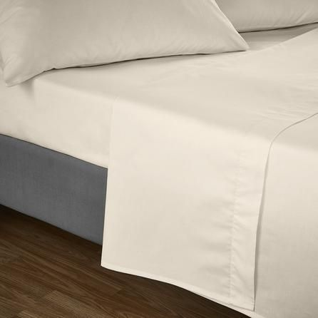 Luxury Plain Dyed Non-Iron Percale Cotton Double Bed Elastic Fitted Sheet Cream