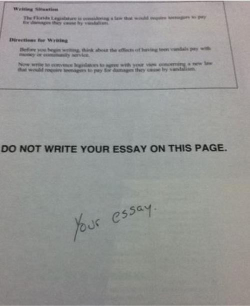 essay in exam