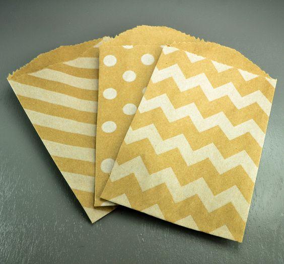 Petite Kraft Chevron, Stripe + Polka Dot Bags