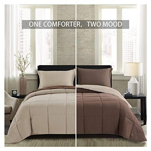Homelike Moment Lightweight Comforter Set Twin Brown Beige Solid Down Alternative Reversible Comforter Set 2 Piece 1 Comforter With 1 Sham All Season Duvet In