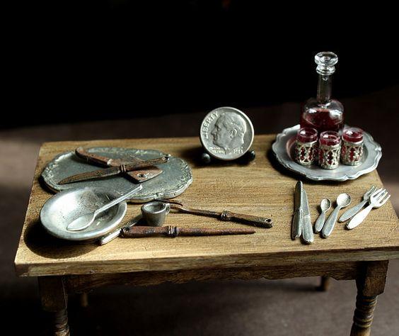 Miniature Tudor Kitchen Party Prep by fairchildart