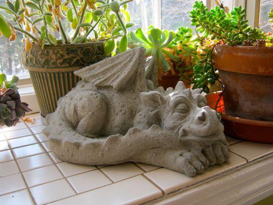 Dragon Statue Concrete Dragons Medieval Monster Large 640 x 480