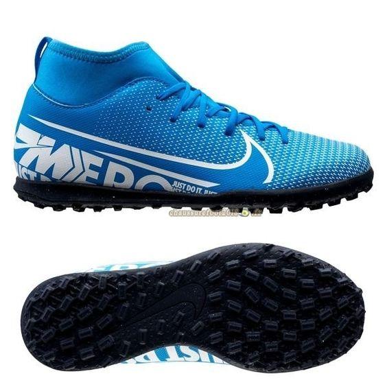 Chaussures de Foot - Chaussure Nike Mercurial Superfly 7 Club TF Bleu Chaussure de Foot Salle