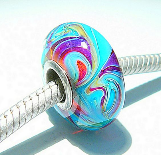 PINK POSH Fully Lined Sterling Silver Big Hole Bead fits Troll Trollbeads Chamilia European Charm Bracelets Handmade Lampwork