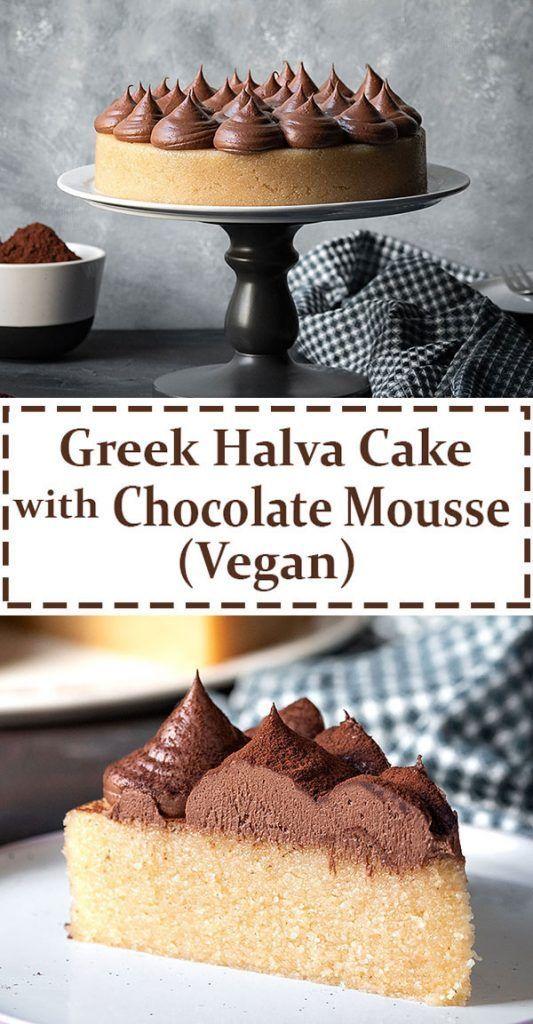 Greek Halva Cake With Whipped Chocolate Ganache Vegan Rezept Schokoladen Ganache Vegan Backen Kuchen Ohne Backen