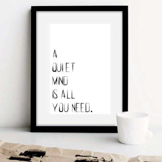 Yoga wall art a quiet mind is all you need art print for Art minimaliste citation