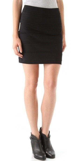 PAIGE SEXY REEVES BLACK HIGH WAISTED BANDED SKIRT NWT XS #Paige #AbovekneeMini