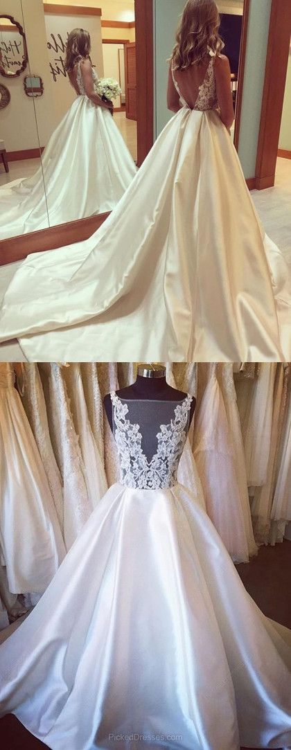 Gorgeous A-line Scoop Long Wedding Dress with Train from modsele ...