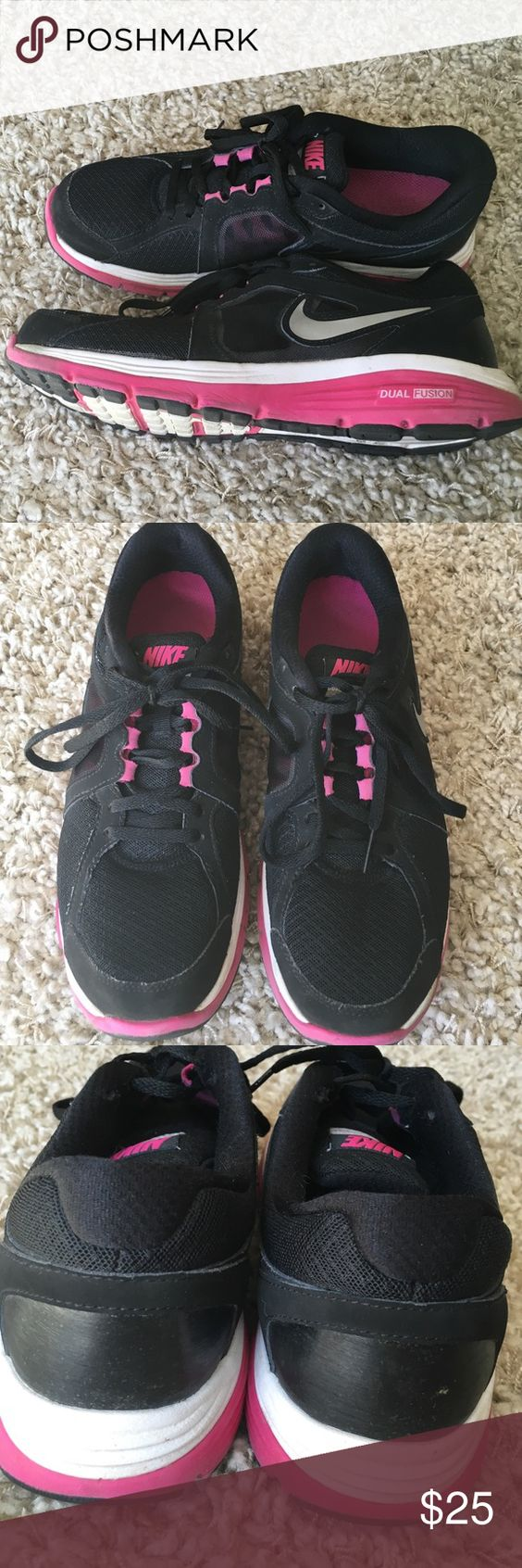 Nike Dual Fusion sneakers Size 9 black,pink & white in EUC hardly worn Nike Shoes Sneakers