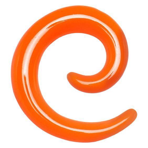 8 Gauge Orange Acrylic Spiral Taper