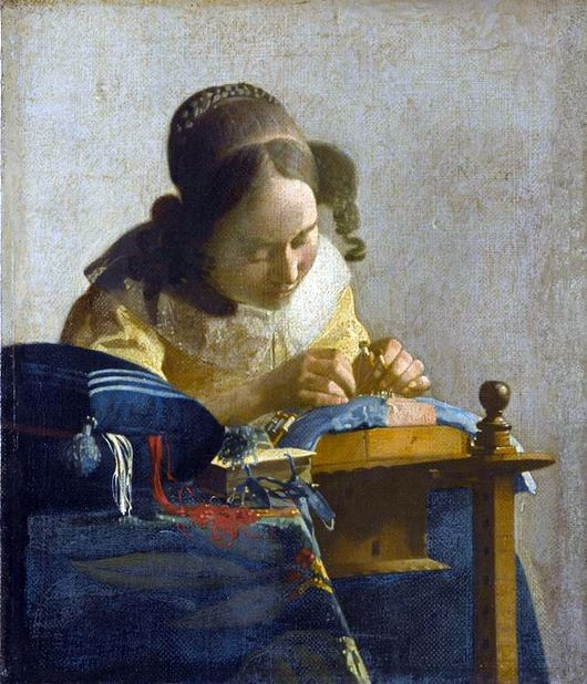 "Description of the painting by Jan Vermeer ""The Lacemaker"""
