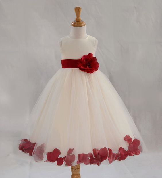 Ivory / Apple Red picture kids Flower Girl Dress by ekidsbridalusa
