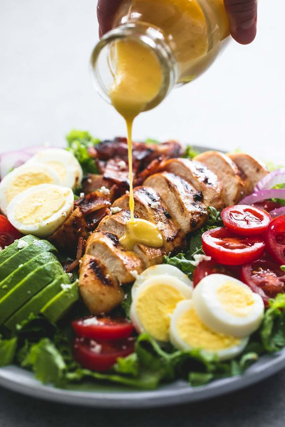 This easy and delicious honey mustard chicken cobb salad is a healthy, hearty main dish salad that will leave everyone begging for more!!