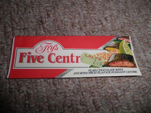 Fry's Five Centres bar. Each segment was a different flavour of fruit fondant.
