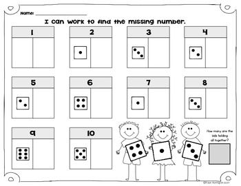 math worksheet : what s the missing number kindergarten math composing  : Decomposing Numbers Kindergarten Worksheets