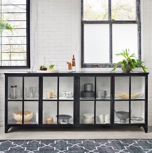 Camila Industrial Black Iron Sideboard With Glass Doors Iron