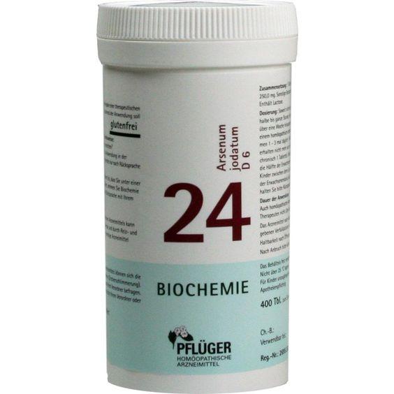 BIOCHEMIE Pflueger 24 Arsenum jodatum D 6 Tabletten:   Packungsinhalt: 400 St Tabletten PZN: 06323098 Hersteller: A.Pflüger GmbH & Co. KG…