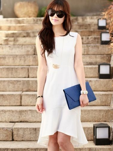Fashion Split Joint Leaf Pattern Casual Dress  on BuyTrends.com