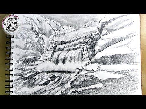 Como Dibujar Una Cascada A Lapiz Paso A Paso Y Muy Facil Youtube Como Dibujar Cascadas Dibujo Al Carbon