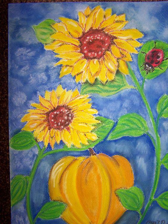 Bildtitel: Kürbis unter Sonnenblumen Technik: Pastellkreide Größe :   30 x 40 cm
